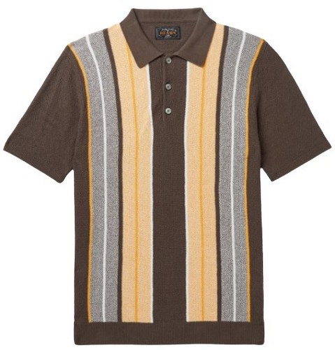 Beams Plus brown striped cotton polo shirt