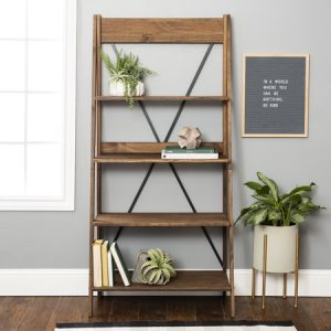 farmhouse brown solid wood ladder bookcase, best ladder bookcase