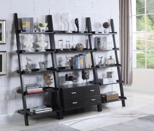 contemporary cappuccino leaning bookcase, best ladder bookcase