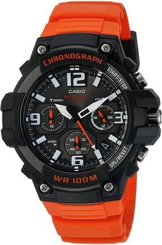 casio oramge sports stainless steel chronograph