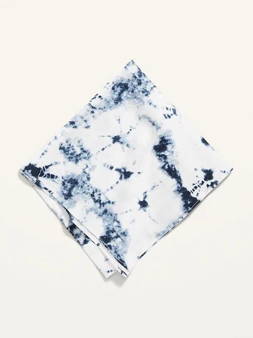 blue and white tie dye bandana
