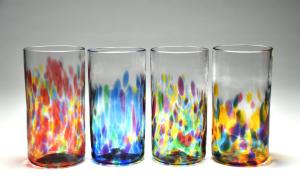 colorful collins highball drinking glasses