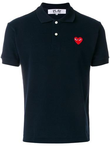 commes des garcons play black polo shirt heart logo