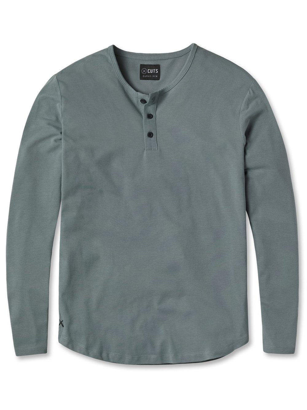cuts clothing long-sleeve henley shirt with curve hem in sage