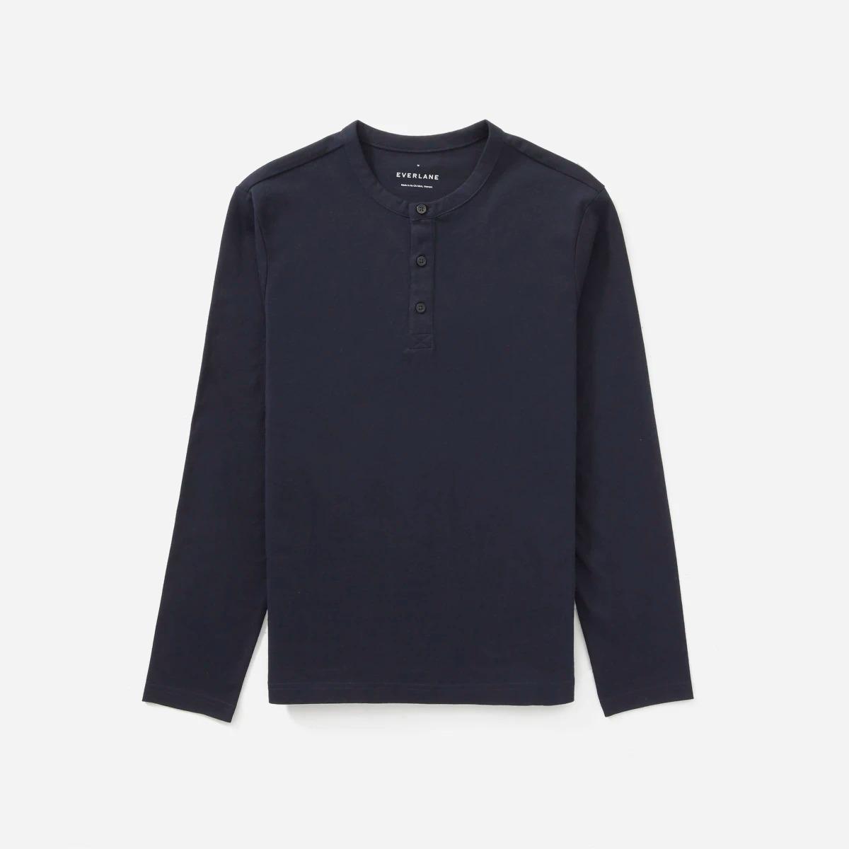 best Henley shirts for men: Everlane premium weight henley shirt