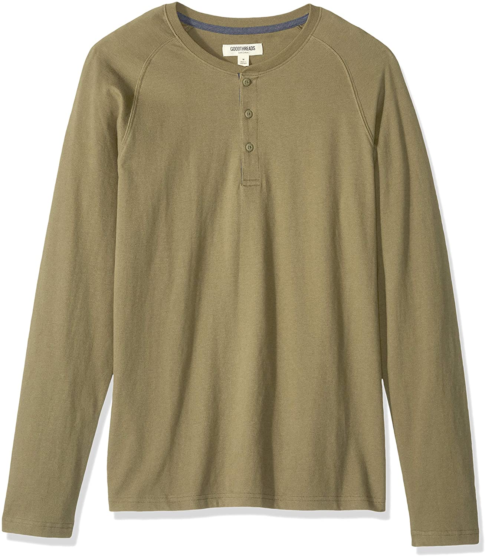 best Henley shirts for men: Amazon Goodthreads long-sleeve henley shirt in olive