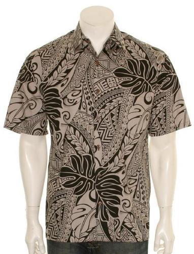 Hilo Hattie tonal tribal print hawaiian shirt