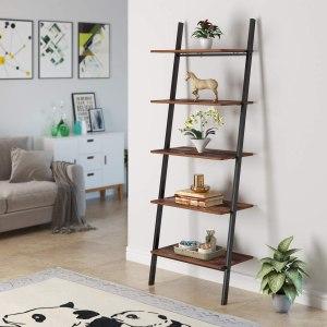 Homfa Industrial Ladder bookcase, best ladder bookcase