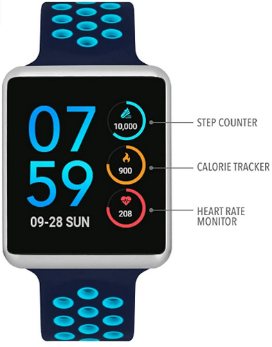 itouch wearable watch in blue