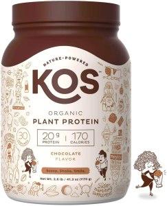 KOS organic plant-based protein powder, vegan protein powder, best vegan protein powder