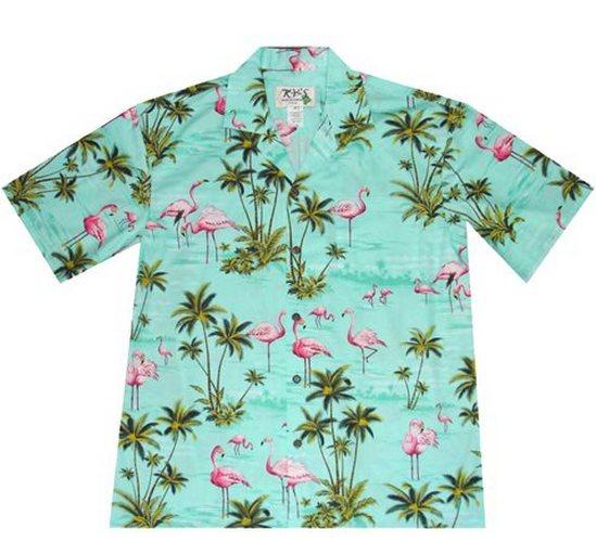 kys green flamingo print hawaiian shirt