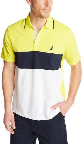 Nautica color block yellow blue and white polo shirt
