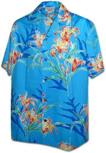 pacific legend blue orchid cotton hawaiian shirt