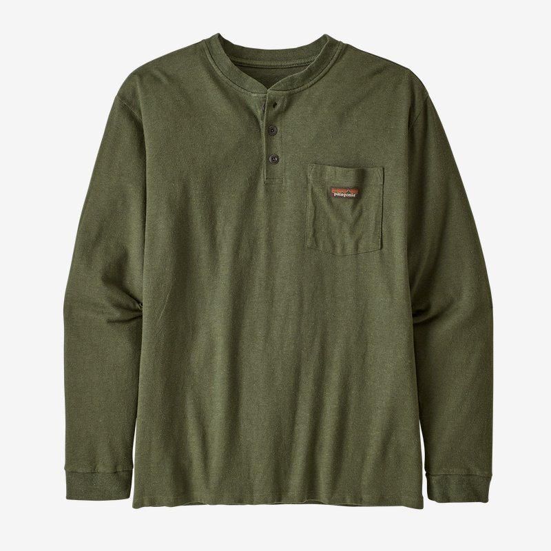 patagonia long-sleeved work henley shirt with pocket in industrial green