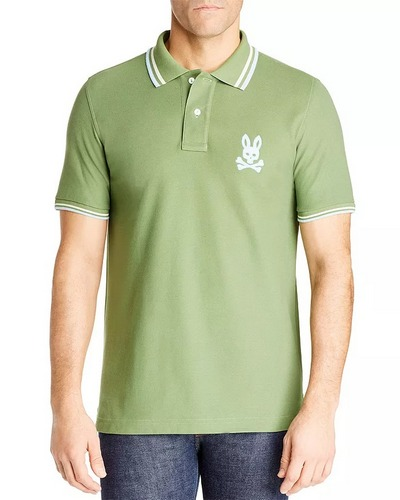 pale green pyscho bunny polo shirt with logo