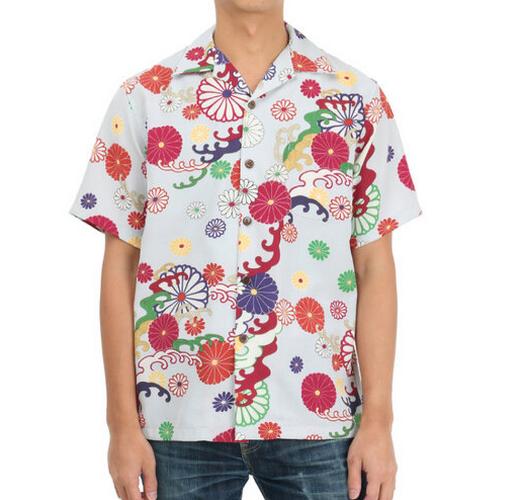pagong chrysanthemum and wave print hawaiian shirt