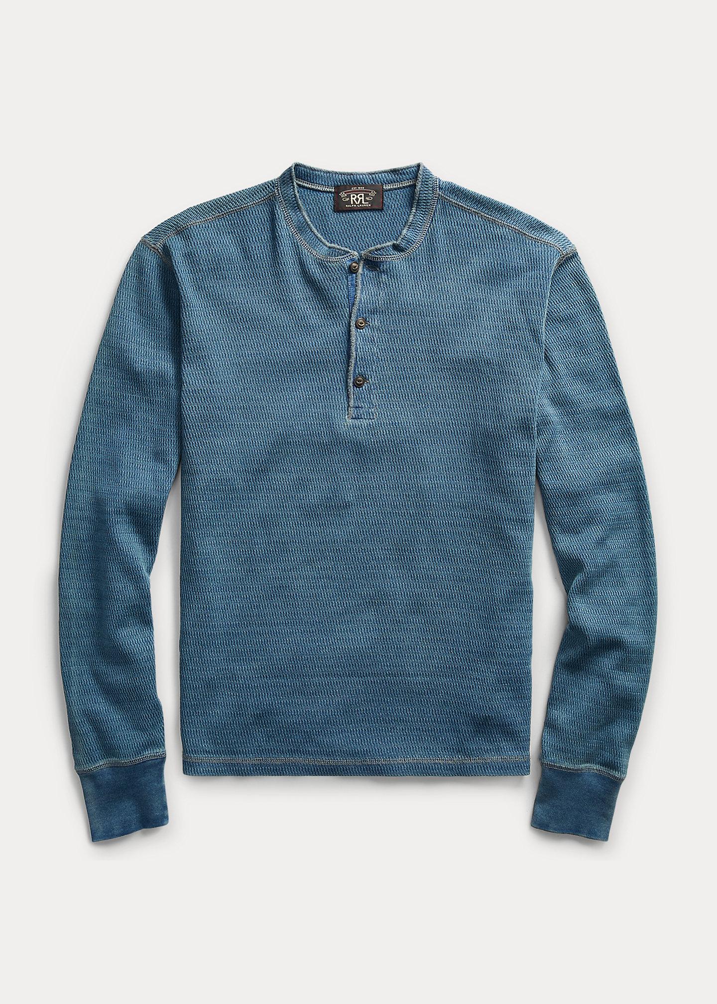 ralph lauren indigo jacquard knit henley shirt