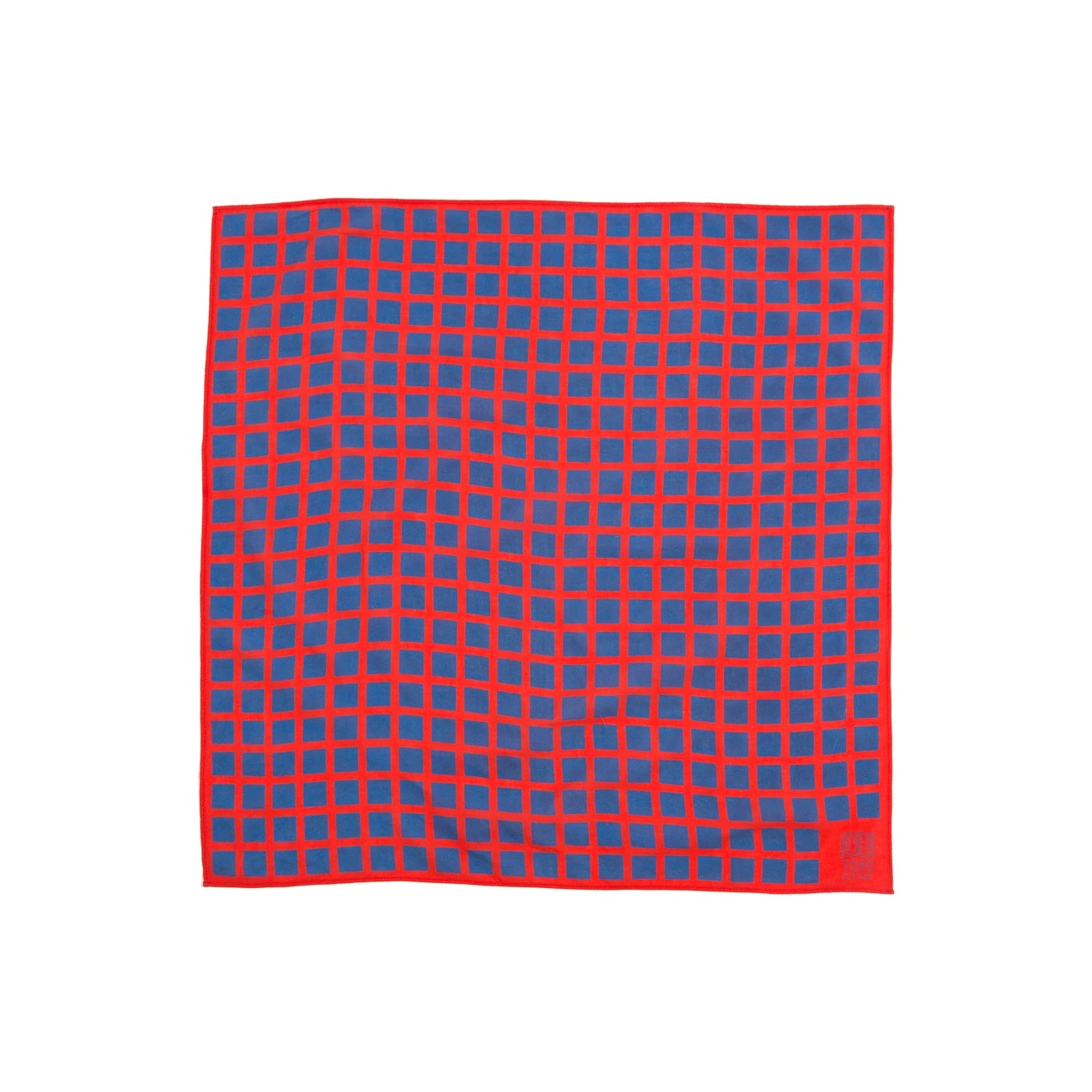 blue and red grid bandana