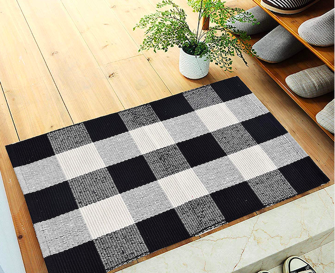 lsquared black and white checkered doormat