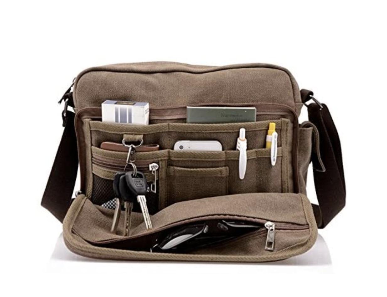 best work bags for men - canvas messenger bag