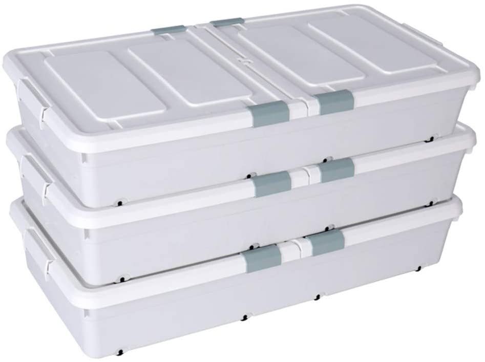 Shozafia 3 large rolling under bed storage bins