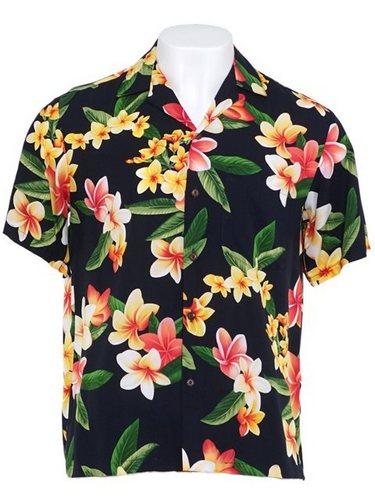 Two palms julia black rayon plumeria flower hawaiian shirt