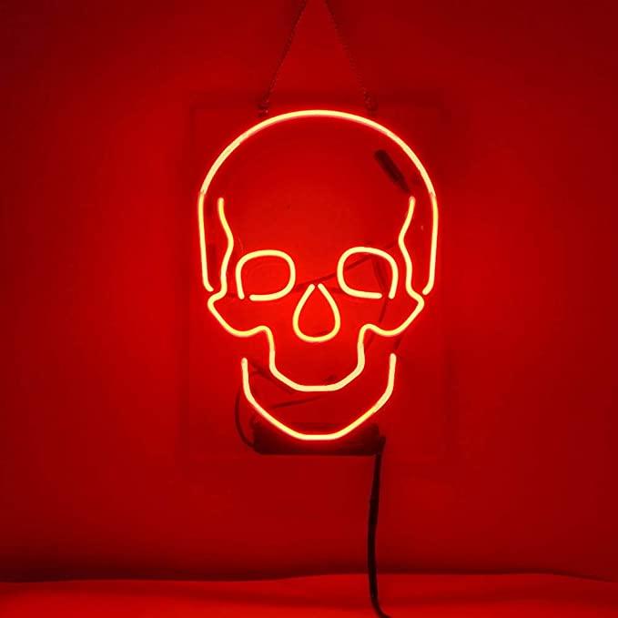 halloween decor skull neon sign