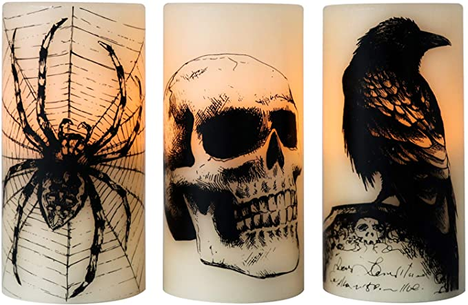 halloween decor skull candle, spider candle and raven candle