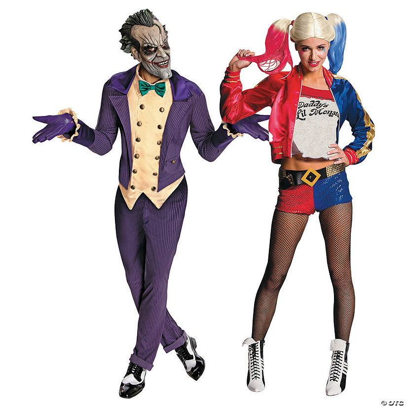 Adult's Joker and Harley Quinn Couples Costume, best couples Halloween costume