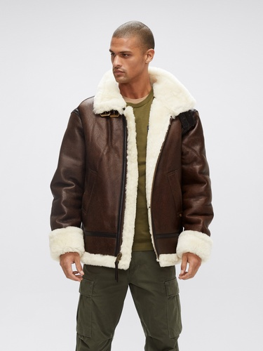 Alpha Industries brown leather b-3 bomber jacket