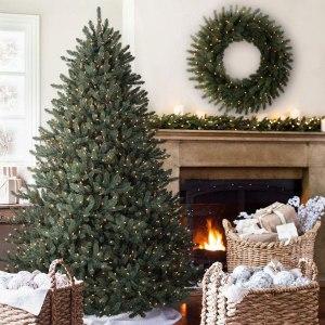 balsam hill blue spruce pre-lit christmas tree, pre-lit christmas tree