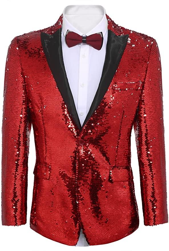 COOFANDY Men's Shiny Sequins Suit Jacket, best cheap halloween costumes