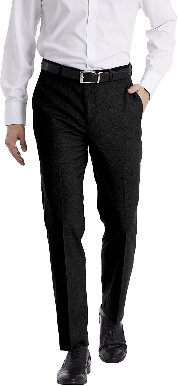Man wears Calvin Klein Men's Slim Fit Dress Pants in black
