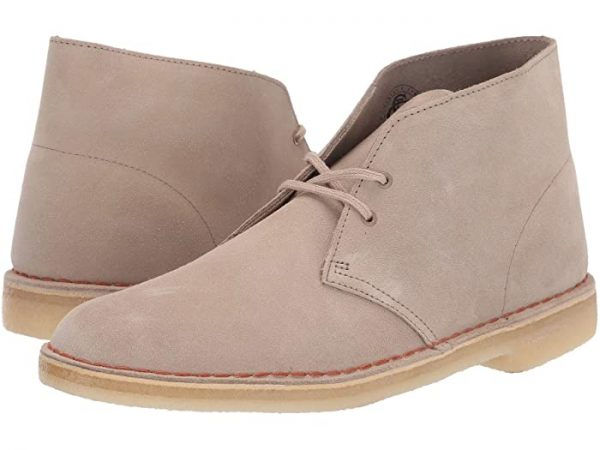 a pair of Clarks Desert Boots