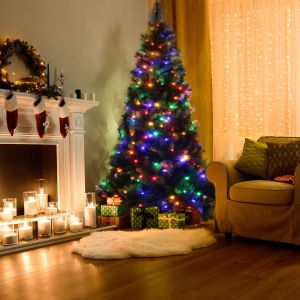 Costway pre-lit multicolor LED Christmas tree, pre-lit christmas tree