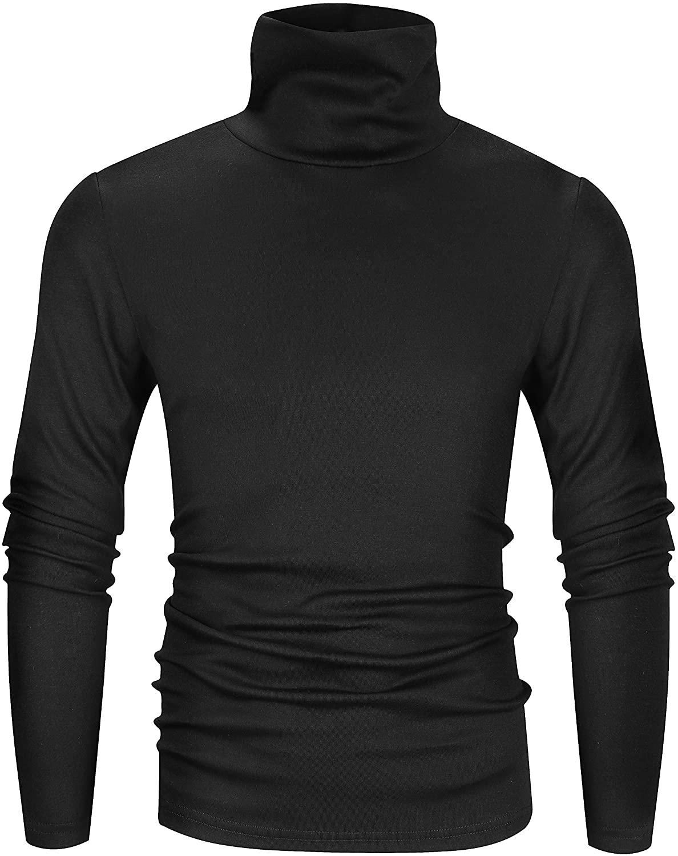 Derminpro Men's Slim Fit Soft Turtleneck Long-Sleeve Pullover in black