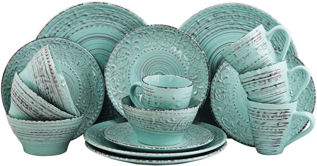 elama embossed stoneware ocean dinnerware set