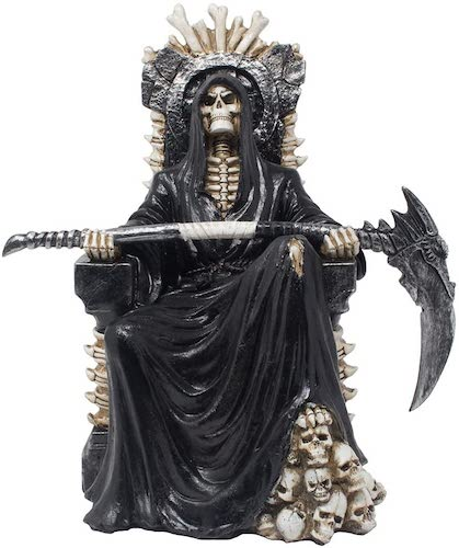 Evil Grim Reaper on Bone Throne Statue with Scythe