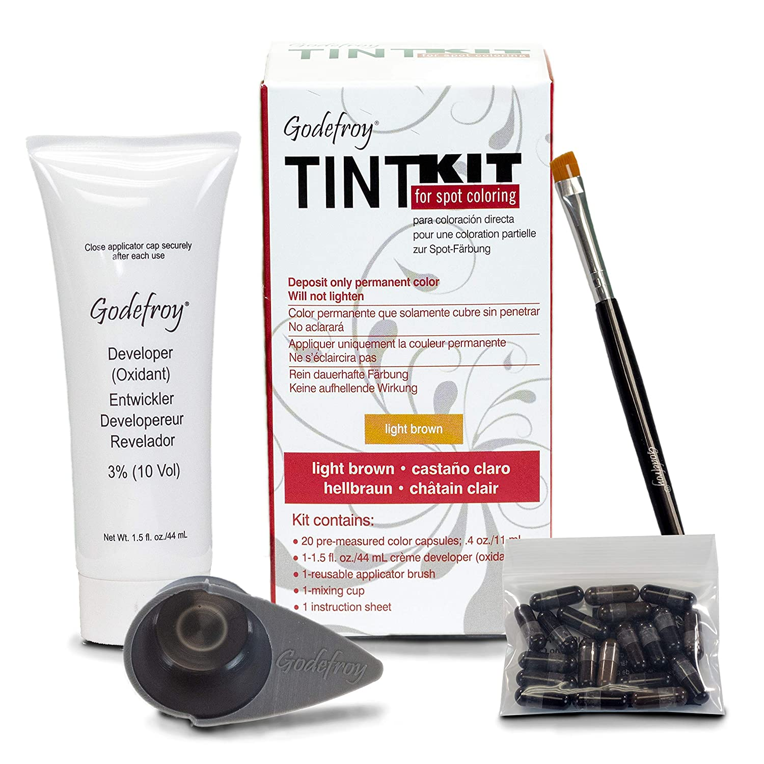 Godefroy professional hair color tint kit in light brown