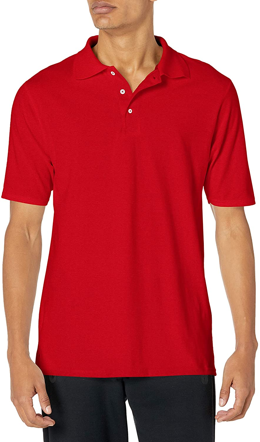 Man wears Hanes Men's X Temp Performance Polo Shirt in red