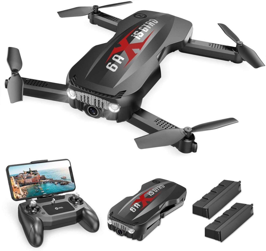 Holy Stone HS160 Pro Foldable Drone with 1080p HD WiFi Camera for Adults and Kids, Wide Angle FPV Live Video, App Control, Gesture Selfie, Waypoints, Optical Flow, Altitude Hold and 2 Batteries