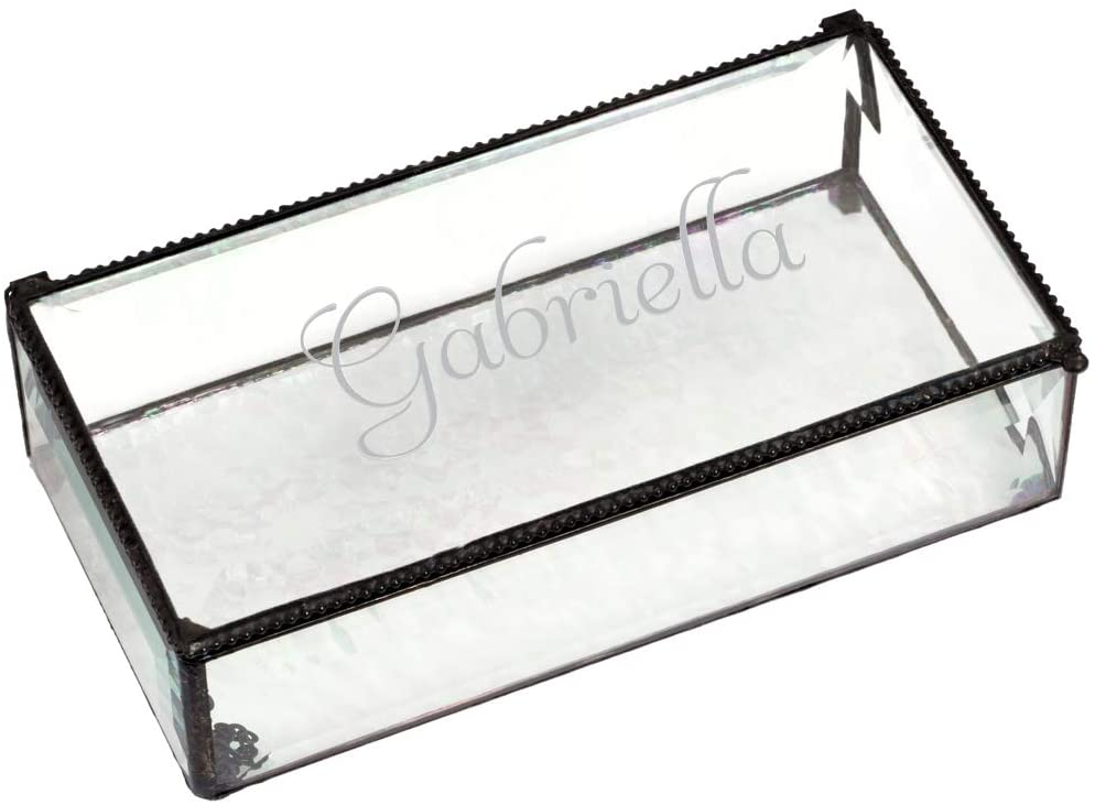 J Devlin Personalized Large Clear Beveled Glass Jewelry Box