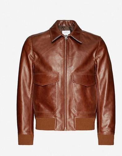 Sandro brown leather aviator jacket