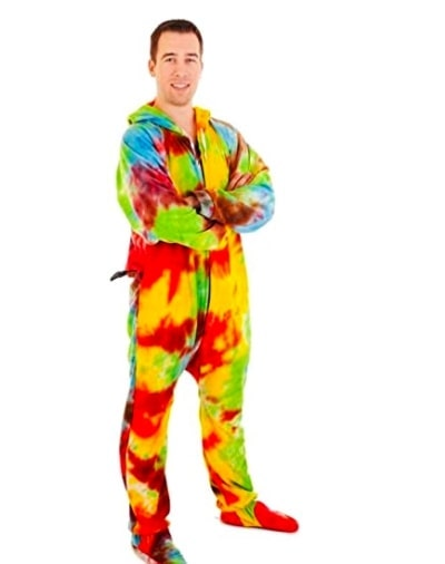 oversized patterned adult onesie with footies, pacifier