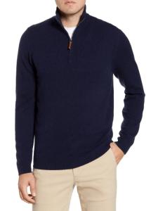 Nordstrom regular fit cashmere quarter zip pullover, cashmere sweater for men