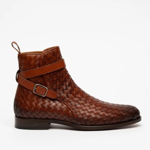 taft woven brown chelsea boot