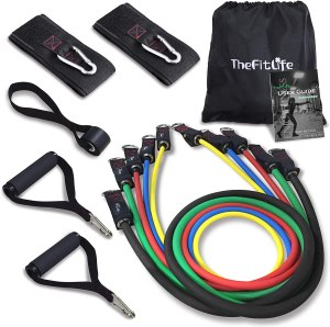 TheFitLife adjustable resistance bands, desk exercise equipment, working out while working