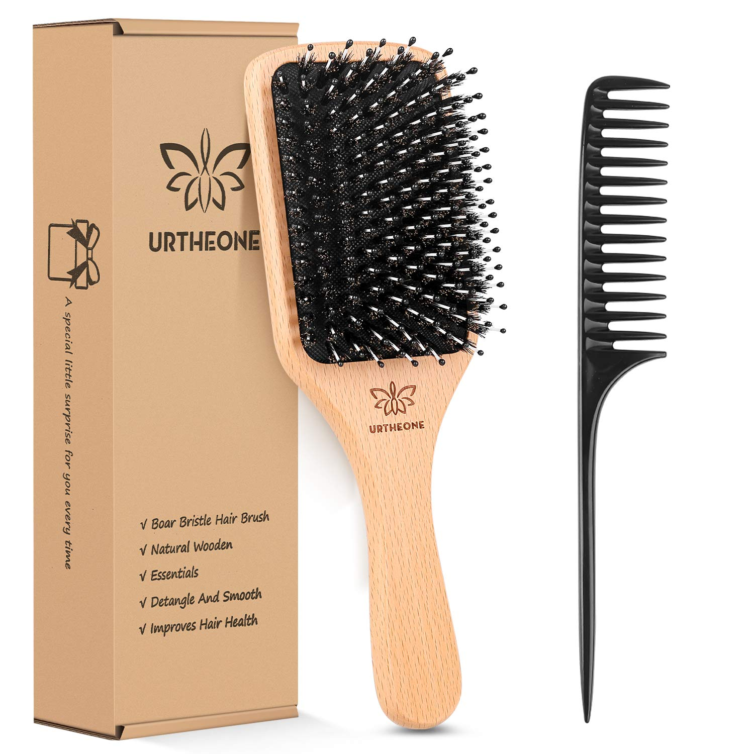 urtheone paddle hair brush with boar bristles and nylon pins