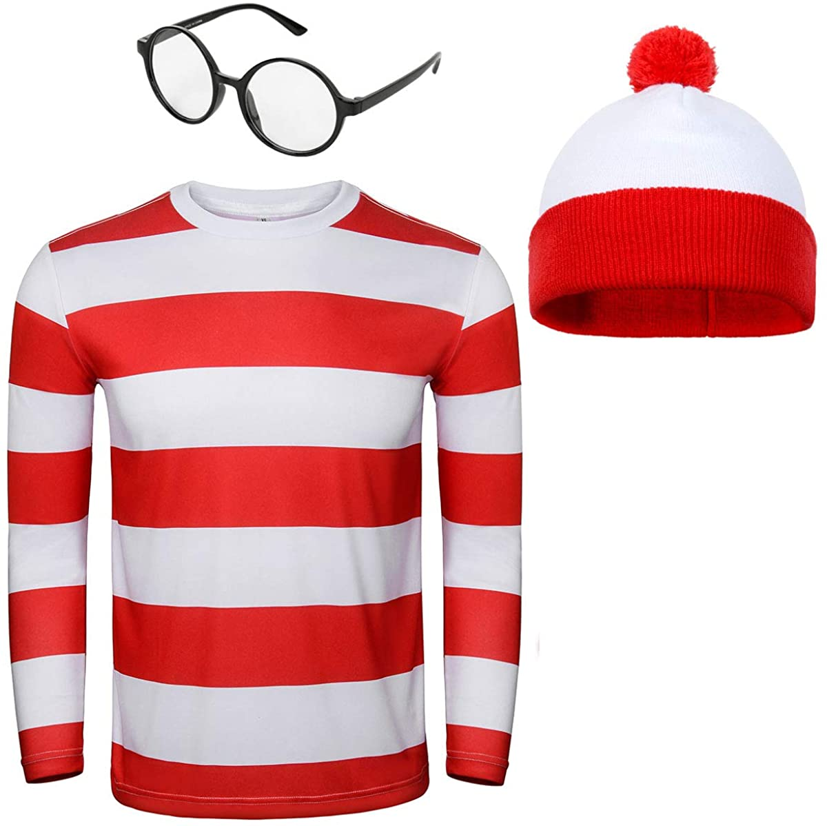 Waldo hat, striped shirt and glasses costume; work appropriate Halloween costumes