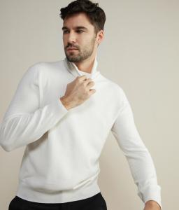 Falconeri Ultra-Soft Wite Cashmere Turtleneck Sweater for men